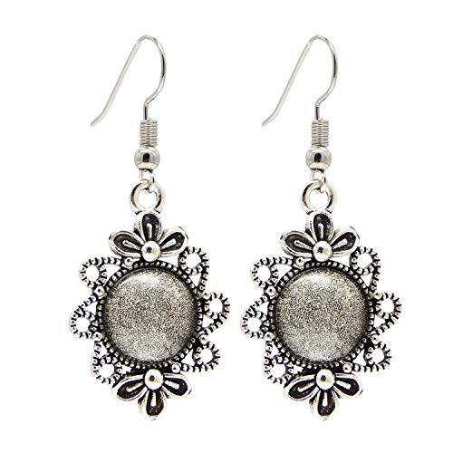 Round Wire Dangle Setting - Julie Wang 10 Pairs Earring Bezels Wire Hooks Setting Base Blank Tray Antiqued Silver with 12mm Round Matching Clear Glass Cabochons 53814