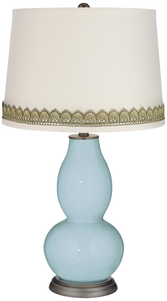 Vast Sky Double Gourd Table Lamp with Scallop Lace Trim