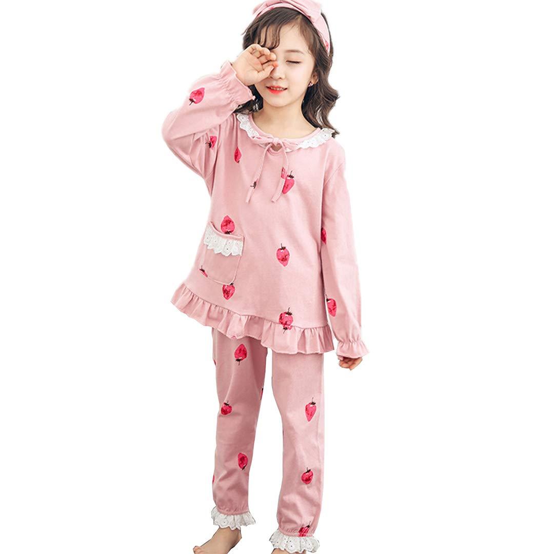 AUIE SAOSA Girls High-Grade Cotton Fashion Cartoon Pajama Sets Headbands 3 Piece