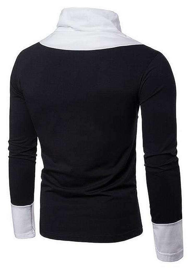 XTX Men Fall Winter Patchwork Turtle Neck Long Sleeve T-Shirt Tee
