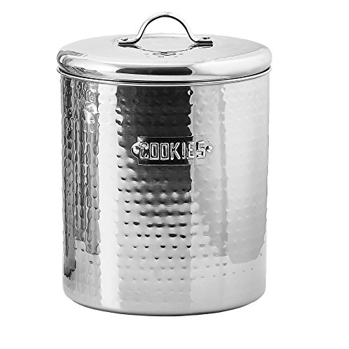 Old Dutch Stainless Steel Hammered Cookie Jar with Fresh Seal Cover, 4-Quart, 6.75 by 7.5-Inch