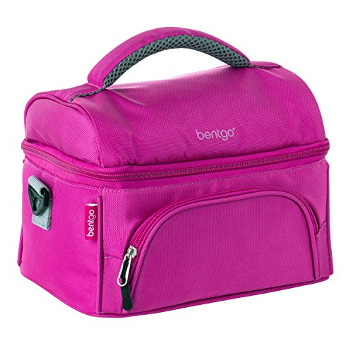 Kids Lunch Tote - Bentgo Lunch Bag (Purple) - Insulated Lunch Tote for Work and School with Top and Main Compartments, 2-Way Zipper, Adjustable Strap, and Front Pocket - Fits All Bentgo Lunch Boxes and Other Containers