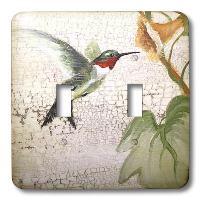 3dRose LLC lsp_44373_2 Hummingbird By Yellow Trumpet Flower on Crackled Background, Double Toggle Switch