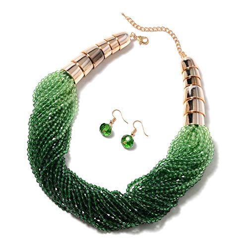 Shop LC Delivering Joy Dangle Drop Earrings and Ombre Necklace Set Green Chroma Glass Jewelry for Women Size 21