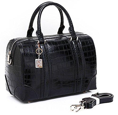 ALC EMILY, 100% Italian Leather Boston Satchel w/ Strap- Black