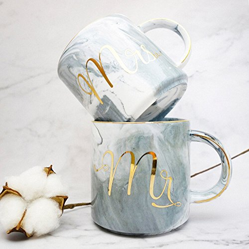 Vilight Mr Mrs Mugs Set - Bridal Shower Engagement and Wedding Gifts - Anniversary Coffee Cups for Engaged Married Couples - Ceramic Marble Tumbler 11.5 oz by VILIGHT (Image #3)