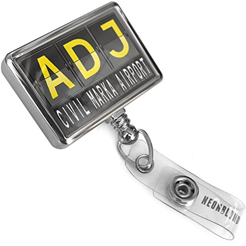 Retractable ID Badge Reel ADJ Airport Code for Civil - Marka Airport with Bulldog Belt Clip On Holder Neonblond