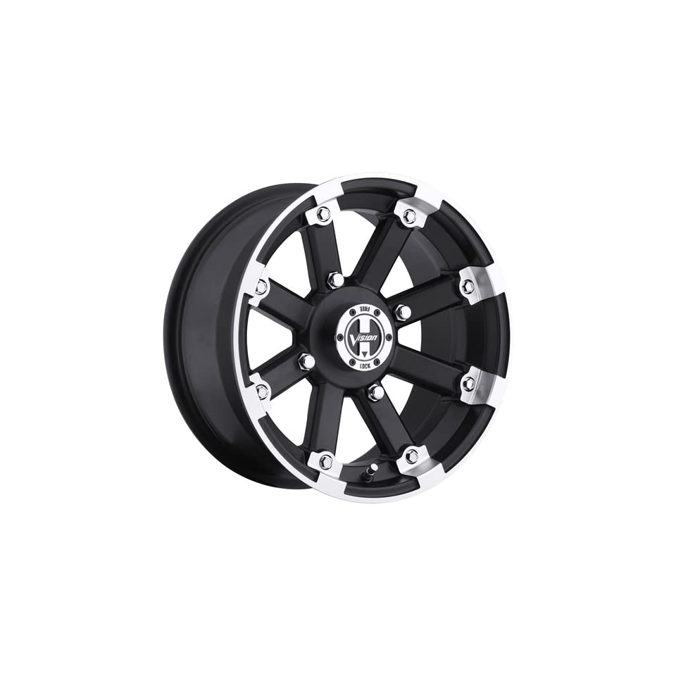 Vision Lock Out 12 Machined Black Wheel / Rim 5x4.5 with a 2.5mm Offset and a 79.4 Hub Bore. Partnumber 393 127545GBML4