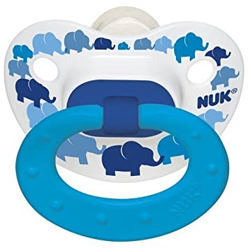 2 Nuk Orthodontic Pacifiers 6-18 Mo Boy ELEPHANT/Geometric Design (1 Package with 2...
