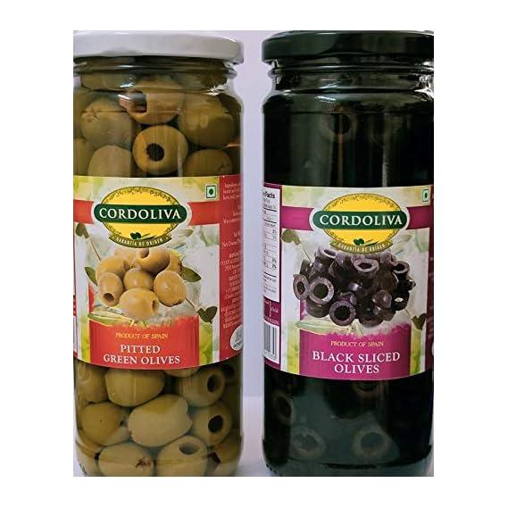 cordoliva Green pitted Olives + Black Sliced olives440g,Pack of 1 Each
