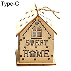 gainvictorlf LED Light Wood House Cute Christmas Tree Hanging Ornaments Holiday Decoration - Type C