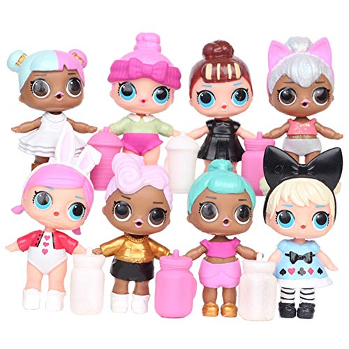 Honfill Mini American LOL Dolls Toys with Feeding Bottles PVC 3