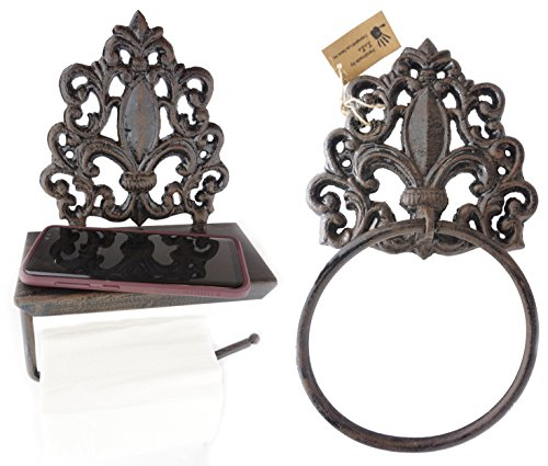 LuLu Decor, Set of Cast Iron Fleur De Lis Toilet Tissue Holder & Towel Holder, Designed with Flat Surface That can Comfortably Hold Important belongings Like Cell Phone, Wallets, Keys etc(Set) (Fleur De Lis Paper)