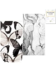 Disposable Black Guest Hand Paper Towel for Bathroom (Butterfly, Marble Venezia), 3-ply; Modern or Rustic Decor :: 32 Decorative Paper Napkins, 8.5 x 4.5 inches