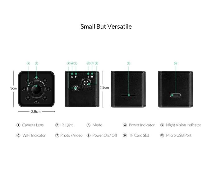 Amazon.com : SQ13 Mini Camera cam WiFi SQ13 rcamara espia 1080P HD Waterproof Camera espion Ferromagnetic Micro Camera (Black) : Camera & Photo