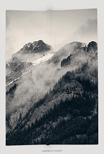 Custom Throw Blanket Banff National Park Foggy Mountains And Forest In Canada 471703436 and - Bronte Canada