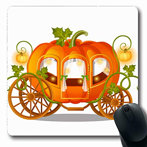 Ahawoso Mousepads Fairytale Orange Fairy Vintage Horse Carriage Pumpkin Holiday Florid Holidays Car Cinderella Princess Oblong Shape 7.9 x 9.5 Inches Non-Slip Gaming Mouse Pad Rubber Oblong -