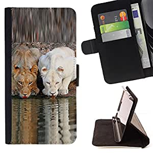 DEVIL CASE - FOR Samsung Galaxy S3 Mini I8190Samsung Galaxy S3 Mini I8190 - Cute Lion Nature African Savannah River - Style PU Leather Case Wallet Flip Stand Flap Closure Cover