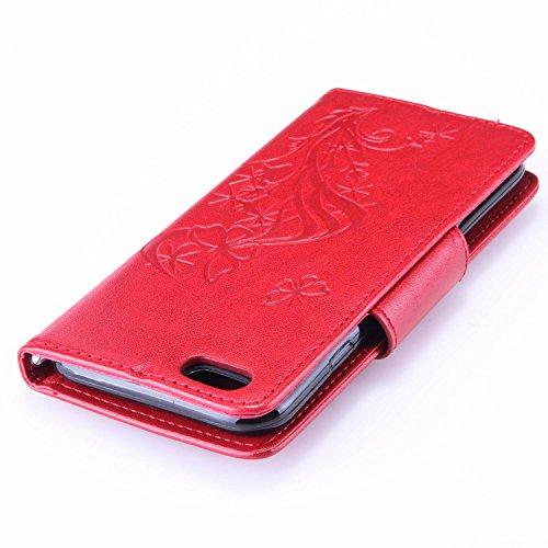 Für Apple iPhone 6 (4.7 Zoll) Tasche ZeWoo® Ledertasche Strass Hülle PU Leder Schutzhülle Glitzer Case Cover - L065 / Schmetterlinge (rot)