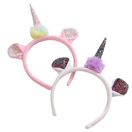Lurrose diadema de unicornio con lentejuelas, orejas de gato, diadema de felpa, pelo