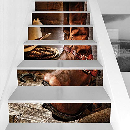 Stair Stickers Wall Stickers,6 PCS Self-adhesive,Western,Classical Cowboy Boots Traditional Ranching Spurs Hat and Rope on Antique Floor Print Decorative,Brown,Stair Riser Decal for Living Room, Hall,
