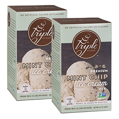 Triple Scoop Ice Cream Mix, Premium Mint Chocolate Chip, starter for use with home ice cream maker, non-gmo, no artificial colors or flavors, ready in under 30 mins, makes 4 qts (2 15oz boxes)