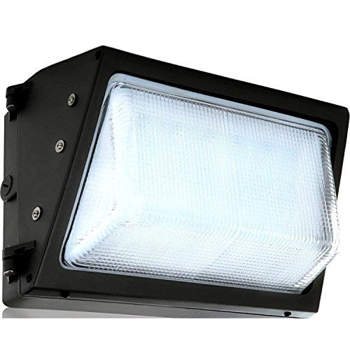 LED Wall-Pack Glass Lens- 40W 5000K Commercial Outdoor Light Fixture (Out-Door Security Porch Lighting for Industrial Out-Side) 120-277V