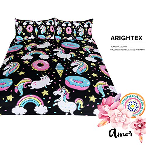ARIGHTEX Chubby Unicorn Bedding Kids Girls Cute Unicorn in Rainbow Sprinkles Donut Pattern Duvet Cover 3 Piece College Dorm Sweet Bed Sets (Full) by ARIGHTEX (Image #1)