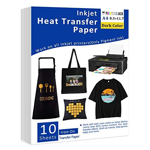 Papel de transferencia de calor para tela oscura, 10 hojas