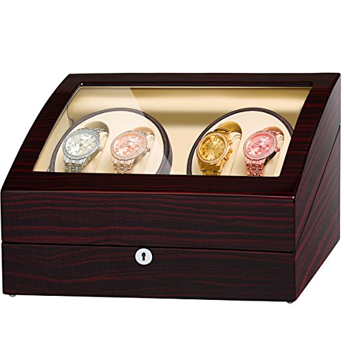Two Slot Watch Winder - JQUEEN 4 Automatic Watch Winder with 6 Storage Case