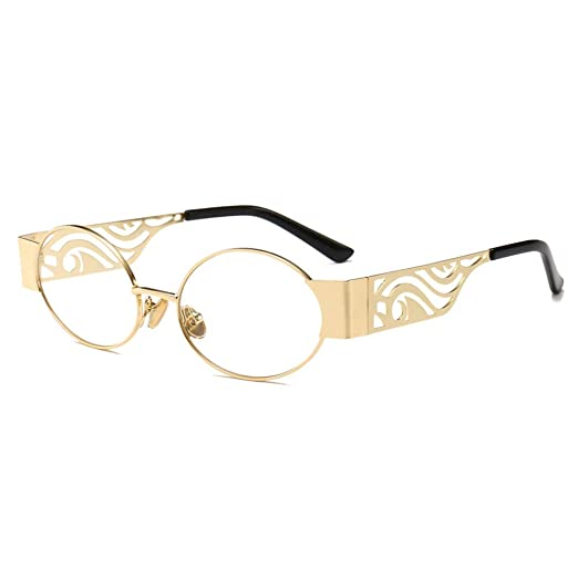 4e5a0b9988 Vintage Oval Eyeglasses Women Punk Hollow Round Retro Glasses Frame Men  Metal (gold with clear