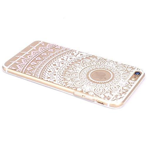 JIAXIUFEN TPU Gel Silicone Protettivo Skin Custodia Protettiva Shell Case Cover Per Apple iPhone 6 Plus / iPhone 6S Plus - White Pink Tribal Mandala