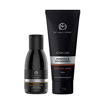 Amazon Com The Man Company Charcoal Face Care Kit Charcoal Peel Off Mask Face Wash Men Acne Face Wash Kit For Face Cleansing And Exfoliation Removes Impurities Blackheads