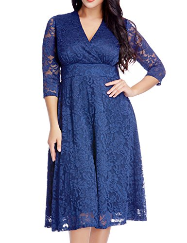 GRAPENT Women's Lace Plus Size Mother Of The Bride Skater Dress Bridal Wedding Party Royal Blue 20W