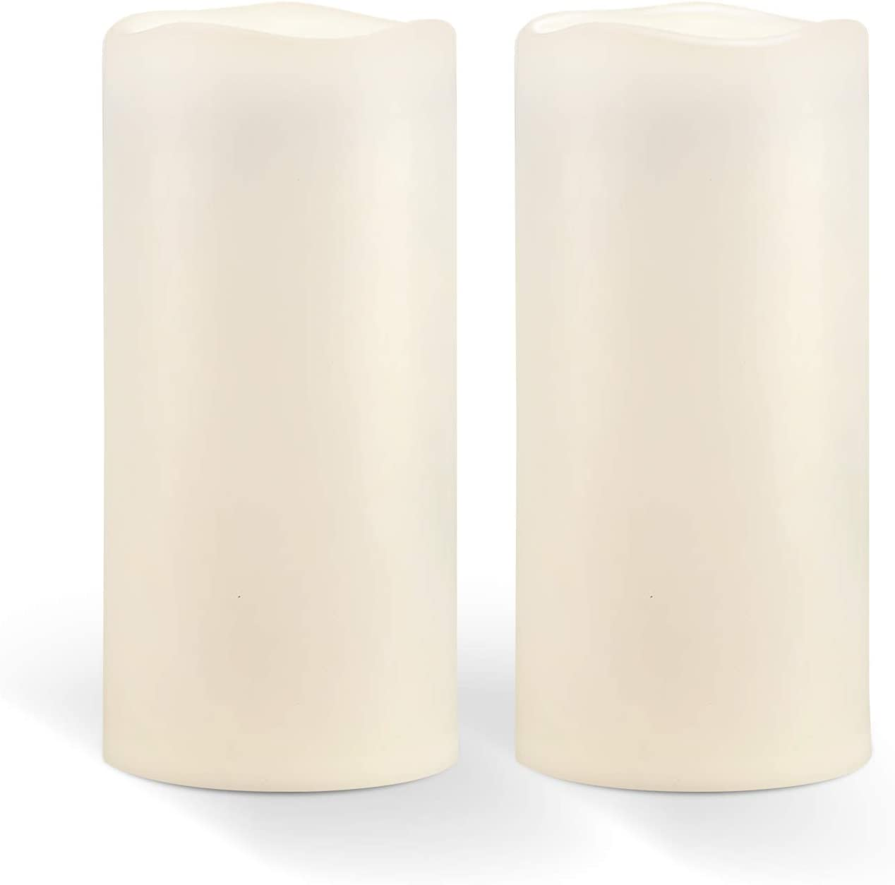 "Homemory 8"" x 4"" Waterproof Outdoor Flameless Candles - Battery Operated Flickering LED Pillar Candles for Indoor Outdoor Lanterns, Long Lasting, Large, Set of 2"