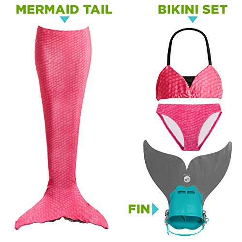 Tendol 3 PC Mermaid tail for swimming and Christmas costume includes the NEW Tendol mermaid MONO FIN (Pink, X-Large)