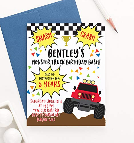 Personalized Monster Truck Birthday Invitations for Boy, Custom