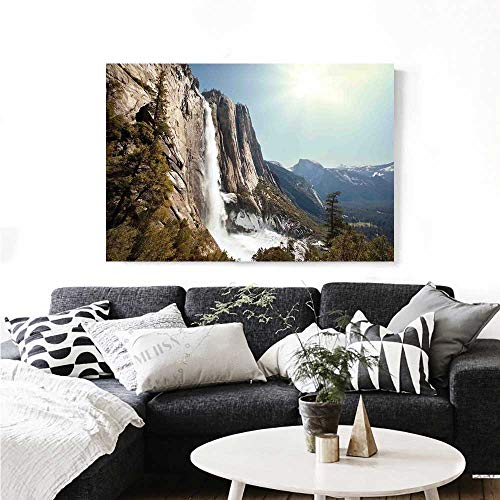 Yosemite Wall Paintings Yosemite Falls Mountain Sunshine Alpine Trees Dramatic Natural Wilderness Landscape Print On Canvas for Wall Decor 36