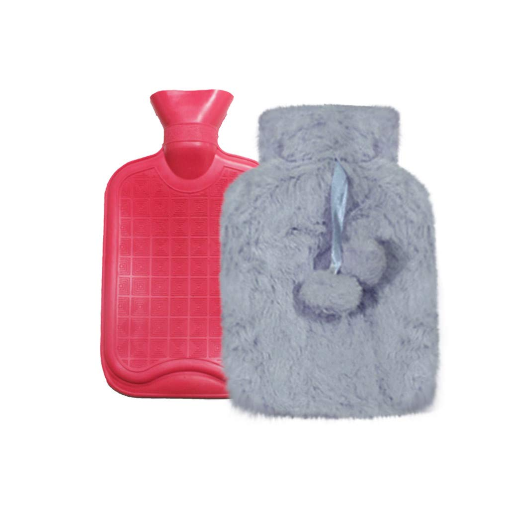 KCPer Hot Water Bottle with Plush Cover Winter Mini Hand Warmer Anti-scalding Injection Water Warm Bag Great for Pain Relief 700ml (Gray)