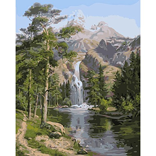 Paint By Numbers Kits For Adults Diy Digital Oil Painting Coloring On Canvas Hand Painted Landscape Painting By Handmade   Beautiful Waterfall Series 16X20 Inch With Brushes And Pigment