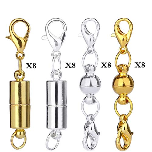 Aiskaer 16 Pcs Gold Color and 16 Pcs Silver Color Magnetic Lobster Clasps for Jewelry Necklace Bracelet