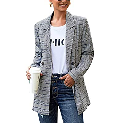 LookbookStore Women's Casual Check Plaid Loose Buttons Work Office Blazer Suit at Women's Clothing store