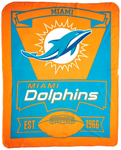 Miami Dolphins Nfl Team (NFL Miami Dolphins Marque Printed Fleece Throw, 50-inch by 60-inch)