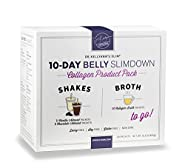 10-Day Belly Slimdown Bone Broth Collagen Pack (20 Servings) by Bone Broth Expert Dr. Kellyann | 1 Shake & 1 Bone Broth for Each Day on the 10-Day Belly Slimdown Diet | You get: 5 Choc Shakes, 5 Vanil