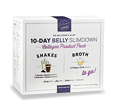 10-Day Belly Slimdown Bone Broth Collagen Pack (20 Servings) by Bone Broth Expert Dr. Kellyann | 1 Shake & 1 Bone Broth for Each Day on the 10-Day Belly Slimdown Diet | You get: 5 Choc Shakes, 5 Vanil