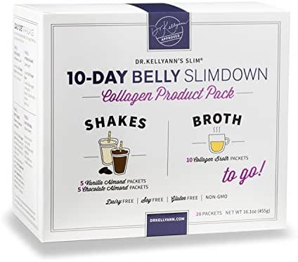 10-Day Belly Slimdown Bone Broth Collagen Pack by Dr. Kellyann - 10 Bone Broth Packets, 5 Keto Chocolate Almond & 5 Keto Vanilla Almond Protein Shakes - Weight loss, Keto, Paleo Diets (20 Servings)