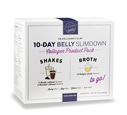 10-Day Belly Slimdown Bone Broth Collagen Pack (20 Servings) by Bone Broth Expert Dr. Kellyann | 1 Shake & 1 Bone Broth for Each Day on the 10-Day Belly Slimdown Diet | You get: 5 Choc Shakes, 5 Vanil (Pack Collage)
