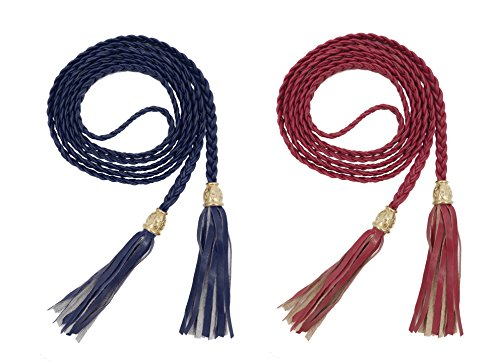 TeeYee Women PU Leather Exotic Knitted Waist Belt/Rope/Chain with Tassel (L, wine navy)