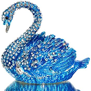 Waltz&F Diamond Blue swanTrinket Box Hinged Hand-Painted Figurine Collectible Ring Holder with Gift Box