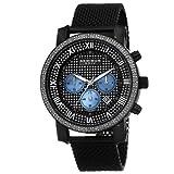 Akribos XXIV Men's AK713BK Grandiose Diamond Quartz Chronograph Black Stainless Steel Mesh Bracelet Watch